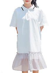 cheap -Women's T Shirt Dress - Solid Colored Shirt Collar