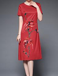 levne -Dámské Základní Pouzdro Šaty - Jednobarevné / Květinový Délka ke kolenům