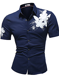 cheap -Men's Cotton Slim Shirt - Floral / Please choose one size larger according to your normal size. / Short Sleeve