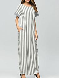abordables -Femme Bohème Tunique Robe - Imprimé, Rayé Maxi
