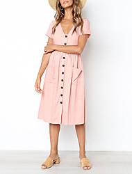 Недорогие -Жен. На выход Свободный силуэт Рубашка Платье Глубокий V-образный вырез Средней длины