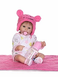 Недорогие -NPKCOLLECTION NPK DOLL Куклы реборн Кукла для девочек Девочки 18 дюймовый как живой Очаровательный Искусственная имплантация Коричневые глаза Детские Девочки Игрушки Подарок