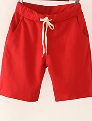 cheap -Women's Cotton Chinos / Shorts Pants - Solid Colored High Waist