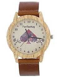 abordables -Xu™ Mujer Reloj de Vestir / Reloj de Pulsera Chino Creativo / Reloj Casual / Esfera Grande PU Banda Moda / Reloj con palabras Negro / Marrón / Chocolate / Un año