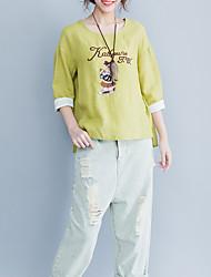 baratos -Mulheres Camiseta Letra / Retrato Algodão