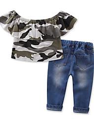 abordables -Bébé Fille Imprimé Manches Courtes Ensemble de Vêtements