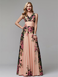 cheap -A-Line V Neck Floor Length Chiffon Formal Evening / Holiday Dress with Pattern / Print / Ruched by TS Couture®
