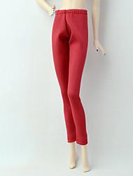 tanie Ubranka dla lalek Barbie-Spodnie Szorty i spodnie i legginsy Dla Lalka Barbie Czerwony Stretch satyna / Poly / Cotton Mieszanka Spodnie Dla Dziewczyny Lalka Zabawka