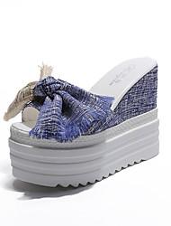 economico -Per donna Scarpe Lino Estate Con cinghia Sandali Footing Zeppa Occhio di pernice Fiocco Nero / Blu
