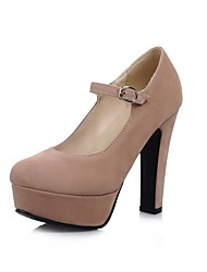 Недорогие -Жен. Обувь Синтетика Весна лето Туфли лодочки Обувь на каблуках На толстом каблуке Круглый носок Черный / Миндальный