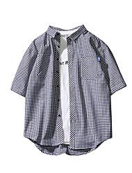 baratos -Homens Camisa Social Básico Xadrez