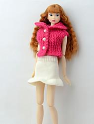 baratos -Tutos e Saias / Blusas Tops e Camisas / Vestido e Saia Para Boneca Barbie Rosa+Branco Cestaria / Fibras Acrilicas Casaco / Saia Para Menina de Boneca de Brinquedo