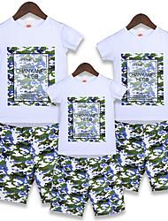cheap -Kids Family Look Geometric Short Sleeve Clothing Set