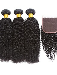 cheap -Indian Hair Curly Natural Color Hair Weaves / Extension / Hair Weft with Closure 3 Bundles With  Closure 8-22 inch Human Hair Weaves 4x4 Closure Best Quality / For Black Women / 100% Virgin Natural