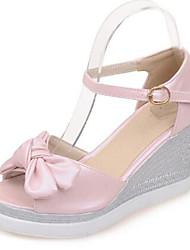 cheap -Women's Shoes PU(Polyurethane) Summer Basic Pump Sandals Wedge Heel Peep Toe Bowknot / Buckle White / Blue / Pink / Party & Evening