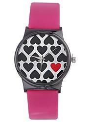Недорогие -Xu™ Жен. Нарядные часы / Наручные часы Китайский Творчество / Повседневные часы / Крупный циферблат PU Группа Heart Shape / Мода Черный / Белый / Серебристый металл / Один год