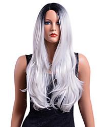 billige -Syntetiske parykker Bølget Nuance Mellemdel Syntetisk hår Fest / syntetisk / Ombre-hår Grå / Nuance Paryk Dame Lang Lågløs / Afro-amerikansk paryk / Ja / Til sorte kvinder