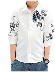 Недорогие -Дети Мальчики Классический Уличный стиль Повседневные Цветочный принт С принтом Длинный рукав Обычный Хлопок Рубашка Синий