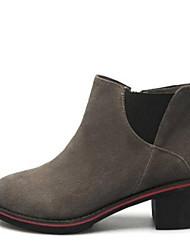 Недорогие -Жен. Обувь Замша Наступила зима Удобная обувь / Модная обувь Ботинки На толстом каблуке Закрытый мыс Сапоги до середины икры Черный / Серый