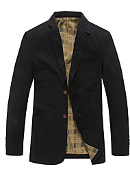 cheap -Men's Blazer-Solid Colored Notch Lapel / Long Sleeve