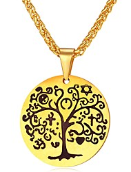 cheap -Men's Rope Pendant Necklace - Stainless Steel Tree of Life Fashion Gold, Silver 55 cm Necklace Jewelry 1pc For Gift, Daily