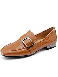 abordables -Femme Chaussures Cuir Verni Eté Confort Mocassins et Chaussons+D6148 Talon Plat Noir / Marron / Amande