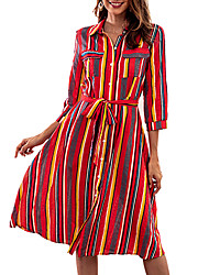 cheap -Women's Street chic / Sophisticated Sheath / Swing Dress - Striped / Color Block Lace up