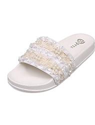 baratos -Mulheres Couro Ecológico Verão Chanel Chinelos e flip-flops Sem Salto Branco / Preto