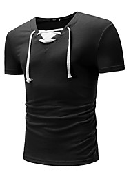 cheap -Men's Basic T-shirt - Solid Colored Lace up