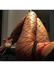 Недорогие -Жен. Тонкая ткань Сексуальные платья Колготы - Однотонный, Сетка Красный Один размер / Для клуба