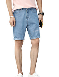 cheap -Men's Basic Jeans / Shorts Pants - Letter Embroidered
