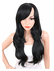 Недорогие -Парики из искусственных волос Волнистый Боковая часть Искусственные волосы Регулируется / Жаропрочная / синтетический Черный Парик Жен. Длинные Без шапочки-основы Черный / Да