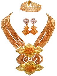 cheap -Women's Layered Jewelry Set - Gourd Fashion Include Strands Necklace Pink / Hot Pink / Champagne For Wedding