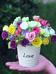 baratos -Flores artificiais 1 Ramo Clássico Rústico Rosas Flor de Mesa