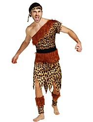 cheap -Primitive Costume Men's Halloween Carnival Masquerade Festival / Holiday Halloween Costumes Outfits Brown Solid Colored Polka Dot Halloween Halloween
