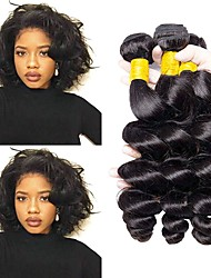 cheap -Brazilian Hair Loose Wave Gifts / Cosplay Suits / Natural Color Hair Weaves 3 Bundles 8-28 inch Human Hair Weaves Fashionable Design / Soft / Hot Sale Natural Black Human Hair Extensions Women's