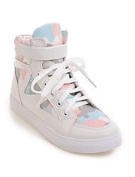 preiswerte -Damen Schuhe Leinwand / PU Herbst Winter Komfort Sneakers Flacher Absatz Schwarz / Blau / Rosa