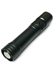cheap -ismartdigi iS-001 LED Flashlights / Torch Portable / Anti-skidding Camping / Hiking / Caving / Everyday Use / Hunting Black