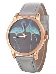 baratos -Xu™ Mulheres Relógio de Pulso Chinês Criativo / Relógio Casual / Mostrador Grande PU Banda Desenho / Fashion Preta / Branco / Azul / Um ano