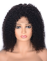 cheap -Human Hair Lace Front Wig Wig Indian Hair Afro Curly Middle Part 130% / 150% Density Party / Women / Medium Size Natural Women's Mid Length Wig Accessories