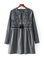 cheap -Women's Basic Cotton Tunic Dress - Geometric Embroidered Crew Neck / Fall