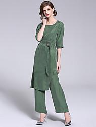 baratos -Mulheres Vintage / Moda de Rua Conjunto Sólido Calça