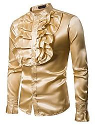 Недорогие -Муж. Оборки Рубашка Классический Однотонный