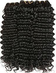 billige -3 Bundler Mongolsk hår Deep Curly Menneskehår Gaver / Hovedstykke / Udvidelse 8-28 inch Menneskehår Vævninger Maskinproduceret Vævet / Bedste kvalitet / Hot Salg Sort Naturlig Farve Menneskehår