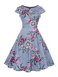 baratos -Mulheres Vintage balanço Vestido Floral Altura dos Joelhos