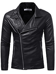 cheap -Men's Plus Size Leather Jacket - Solid Colored / Long Sleeve