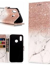 baratos -Capinha Para Huawei P20 / P20 lite Carteira / Porta-Cartão / Com Suporte Capa Proteção Completa Mármore Rígida PU Leather para Huawei P20 / Huawei P20 Pro / Huawei P20 lite
