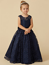 cheap -Ball Gown Knee Length Flower Girl Dress - Lace Sleeveless Jewel Neck with Bow(s) / Sash / Ribbon by LAN TING BRIDE®