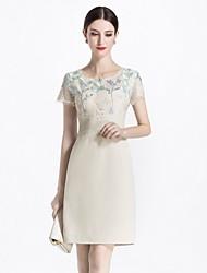 abordables -Mujer Básico / Elegante Vaina Vestido Un Color / Floral Sobre la rodilla