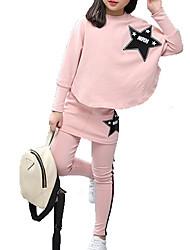 Недорогие -Дети Девочки Классический Однотонный Длинный рукав Полиэстер Набор одежды Розовый 140